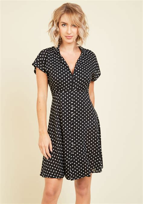 Dotted Sleeve A Line Dress house show hostess a line dress in black dotted mod