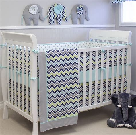 Crib Bedding Gender Neutral This Adorable Chevron Baby Bedding Decor From Sweetkylababy Is In A Gender Neutral
