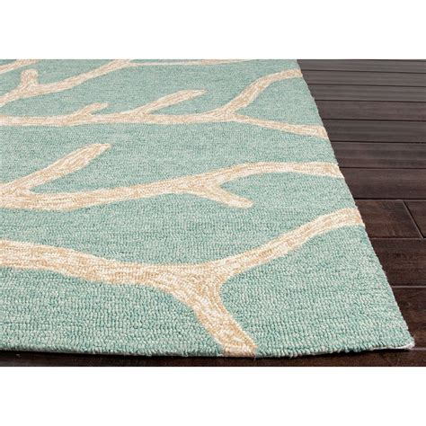 Jaipurliving Coastal Lagoon Teal Latte Indoor Outdoor Area Outdoor Area Rug