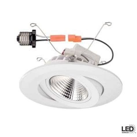 Commercial Electric Lighting Fixtures Commercial Electric 6 In Recessed White Gimbal Led Trim Recessed Light Fixture Trims