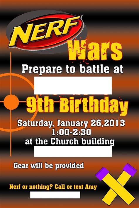 131 Best Images About Party Ideas Nerf Gun Party On Pinterest Birthday Party Invitations Nerf Invitation Template Free