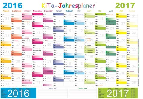 Kalender 2016 Jahresplaner Kita Jahresplaner 2016 2017 E Z Verlag