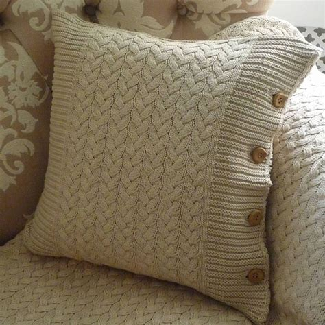 knitting pattern for cushion with buttons brompton beige cable knit cushion knitting