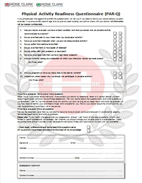 par q template for sport great parq form template photos resume ideas namanasa