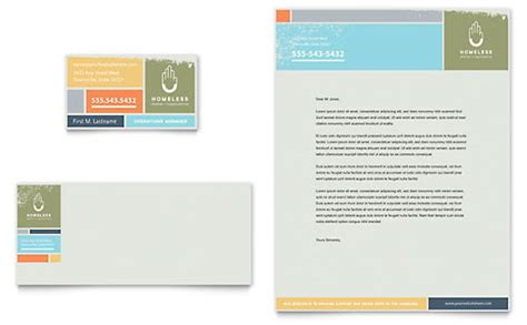 homeless shelter business card letterhead template