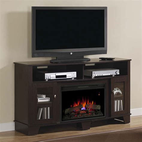 electric fireplace media console lasalle electric fireplace media console in oak espresso