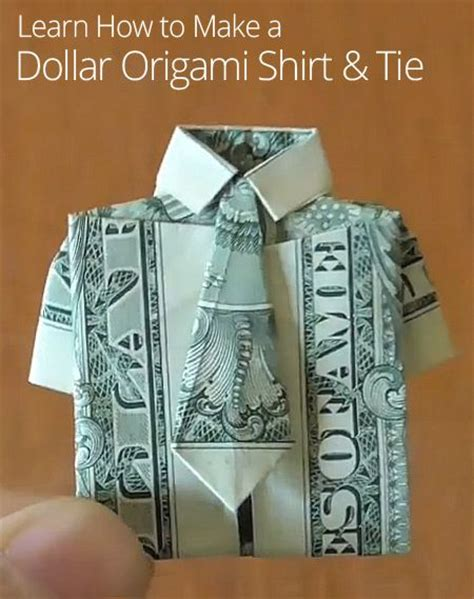 Dollar Bill Origami Shirt With Tie - origami shirts and dollar bills on