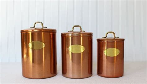 set of copper nesting kitchen canisters de la cuisine nesting copper canister set brass handles