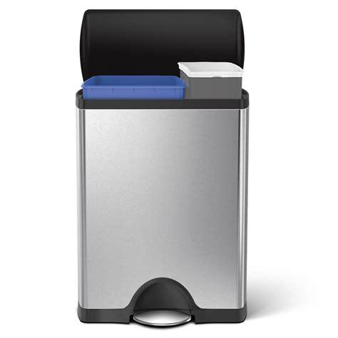 simplehuman in cabinet trash can simplehuman 46 liter brushed stainless steel rectangular