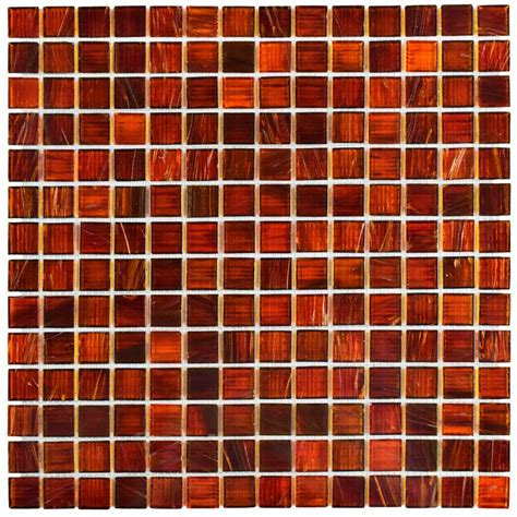 Kitchen Paint Color Ideas by Merola Tile Coppa Genghis Red 12 In X 12 In X 4 Mm Glass