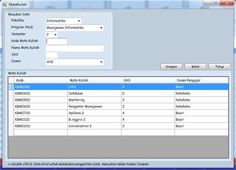 membuat database jadwal kuliah aplikasi sistem informasi akademik vb net 2005 relainc