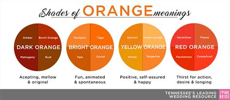 shades of bright orange wedding color inspiration energetic friendly orange