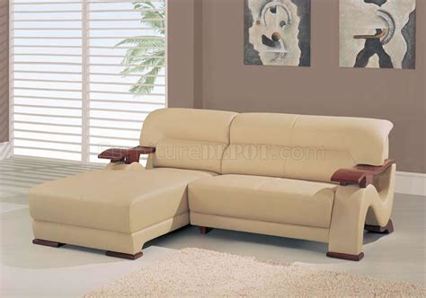Wooden Sectional Sofa by Beige Leather 2 Pc Sectional Sofa W Wooden Arms