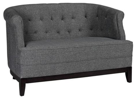 Emma Studio Tufted Sofa Textured Charcoal Traditional Charcoal Tufted Sofa