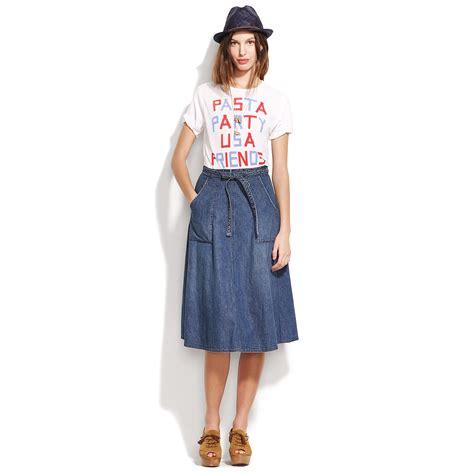 madewell denim wrap skirt in blue windswept lyst