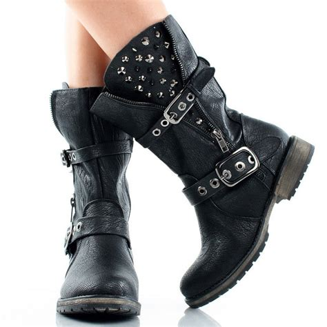 black spike studded biker motorcycle flat mid