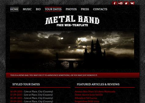 Modblackmoon Free Dark Grunge Html Css Web Template Designs Band Website Templates