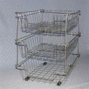 vintage office wire basket paper tray stacking by peapickins