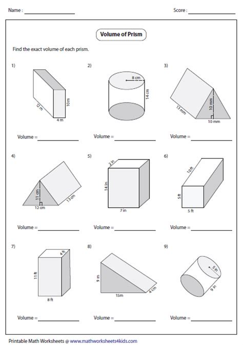 Volume Of Shapes Worksheet by Volume Worksheets