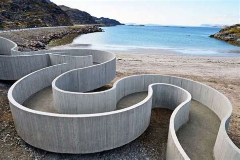eco toilet for cing winding concrete walkways havoysund tourist route