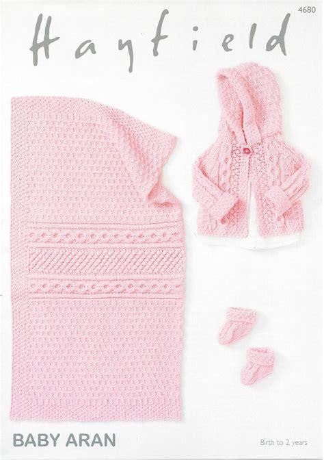 hayfield knitting patterns for babies hayfield baby aran 4680 jacket bootees blanket