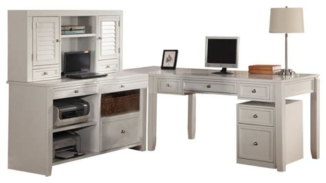 Parker House Boca L Shaped Credenza With Hutch And Rolling White L Shaped Desk With Hutch