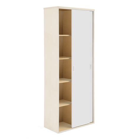 Office Storage Cabinets With Sliding Doors Modulus Sliding Door Cabinet 2000x800 Mm Birch With White Doors Aj Products