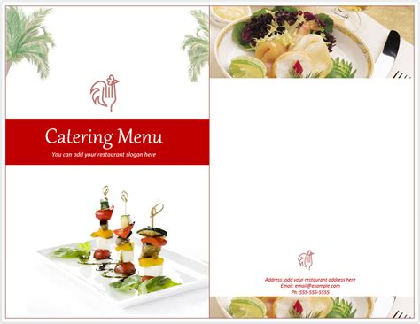 catering menu template word templates