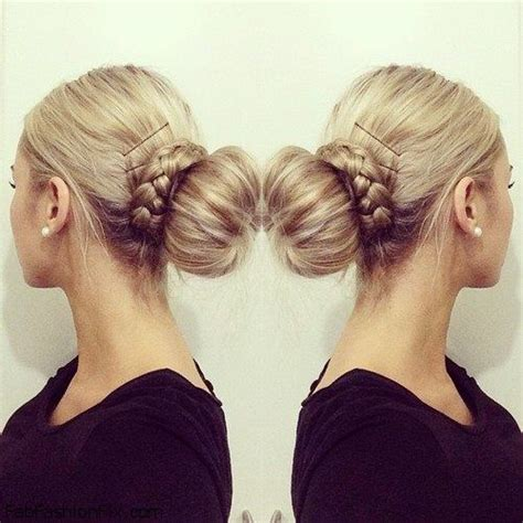 updo hairstyles with donut braided donut hair bun updo hairstyle for medium long hair