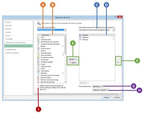 barra superior excel barra de herramientas de acceso r 225 pido en excel 2013