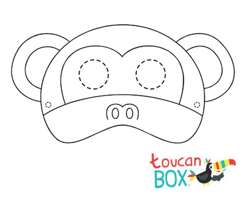 printable monkey mask template new rainforest toucanbox toucanbox
