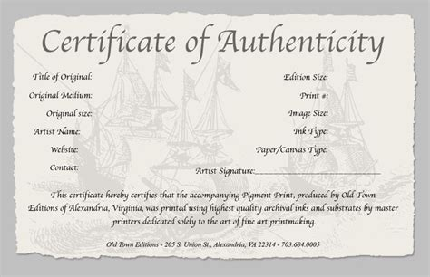artist certificate of authenticity template artist certificate of certificate of authenticity of a print