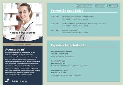 Plantillas De Curriculum Vitae Bolivia Elaboraci 243 N Curriculum De M 233 Dicos O Enfermeras Formato Html Modelos Y Plantillas