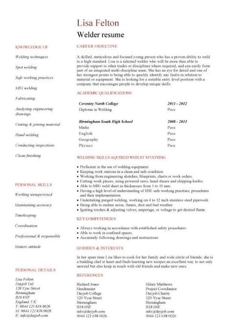 Welding Resume Exles by Welder Cv Sle