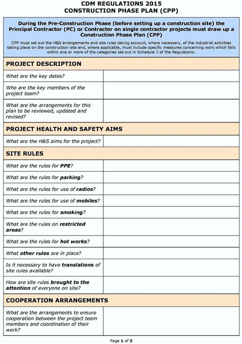 hse template hse risk assessment template construction template