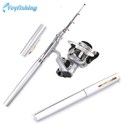 Mini Portable Pen Fishing Rod Length Pancing Pena pen fishing rod is a best gift for your friends 5 color 1m mini pocket portable aluminum alloy