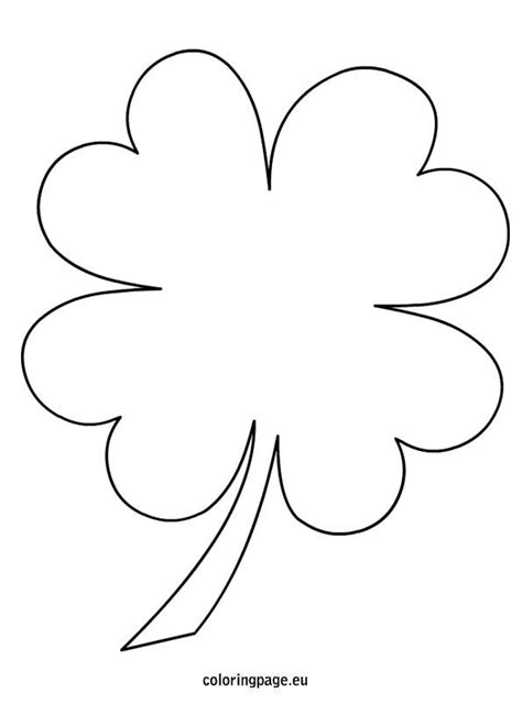 4 Leaf Clover Coloring Page St Patrick S Day Four Leaf Clover Color Page