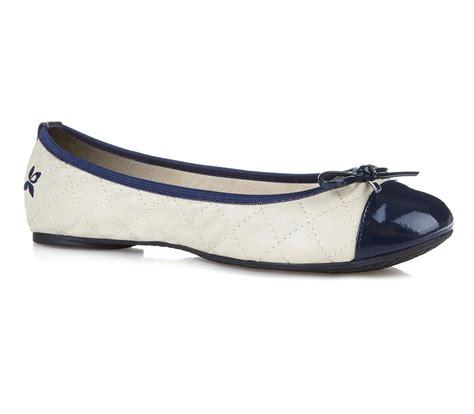 Creme Navy butterfly twists quilted navy flats