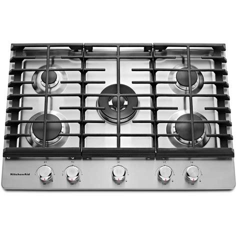Dual Burner Gas Cooktop kitchenaid kcgs550ess 30 quot gas cooktop w 17k btu professional dual ring burner stainless