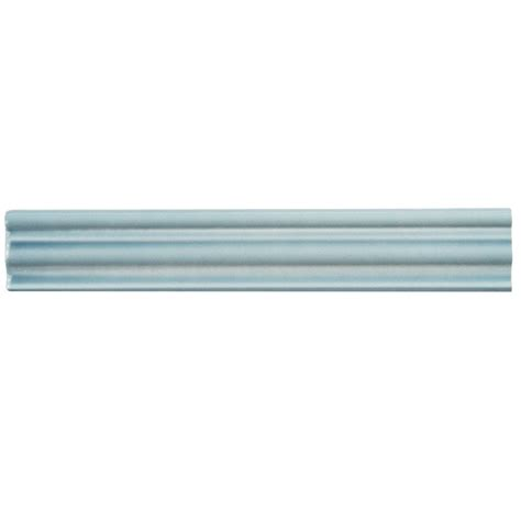 merola tile chester acqua 2 in x 12 in chair rail ceramic wall trim tile wnu36cam the home depot