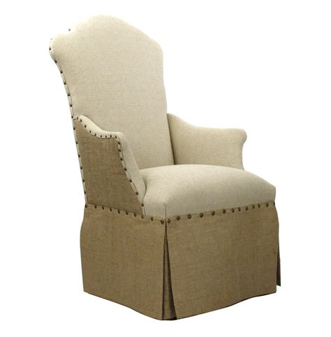 Skirted Dining Chairs Country Jute Linen Skirted Dining Arm Chair Kathy Kuo Home