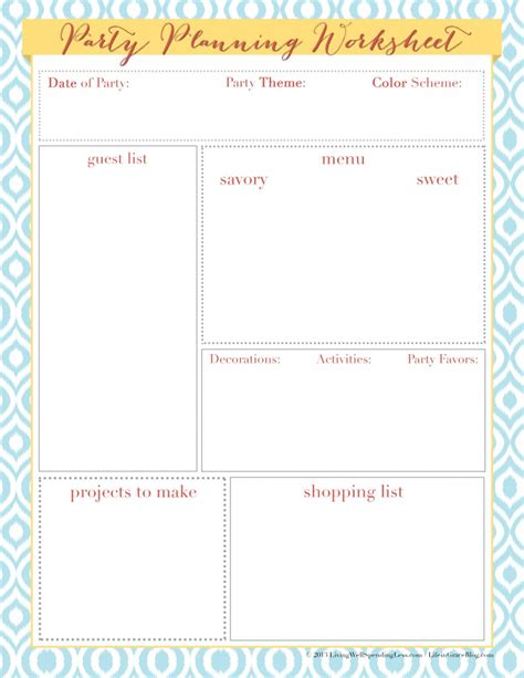 free printable event planner 7 best images of free printable party budget worksheet