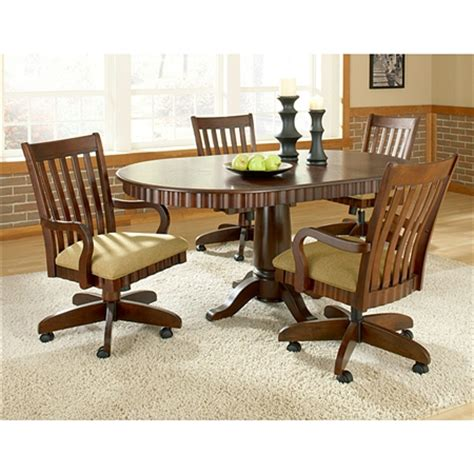 Dining Table With Caster Chairs Chesterfield Dinette Set Rnd Table Swivel Padded Chairs W Caster Leg Cherry Ebay