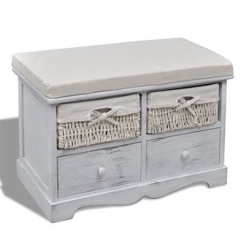 white wooden storage bench white wooden storage bench 2 weaving baskets 2 drawers