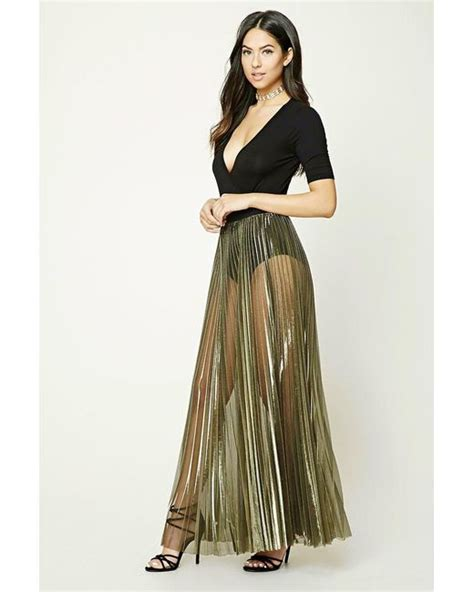 forever 21 metallic pleated maxi skirt in metallic lyst