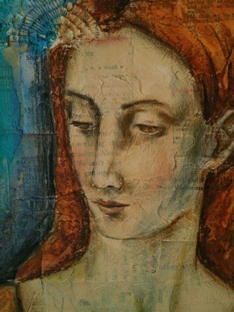 fresco mixed media original mixed media portrait painting all walled up
