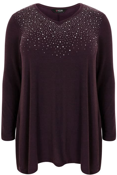 purple swing purple swing top with diamante stud embellishment plus