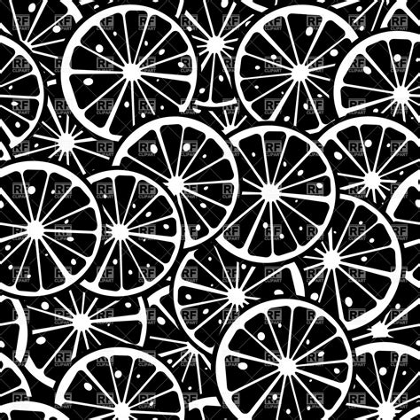 vector background pattern black and white citrus slice background seamless pattern in black and