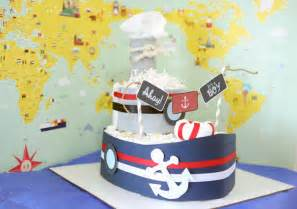 nautical boat diaper cake for baby boy baby shower