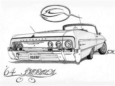 coloring pages of lowrider cars 64 impala rollin deep by gerardo martinez riverside ca